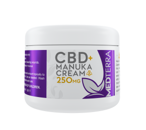 Medterra CBD Manuka Cream Salve contains 250mg of high-quality hemp extract to help sooth sore muscles and joints.