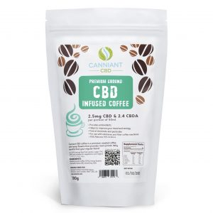Infuse your mornings you CBD by using Canniant Premium Ground CBD infused coffee with 2.5mg of CBD per serving.