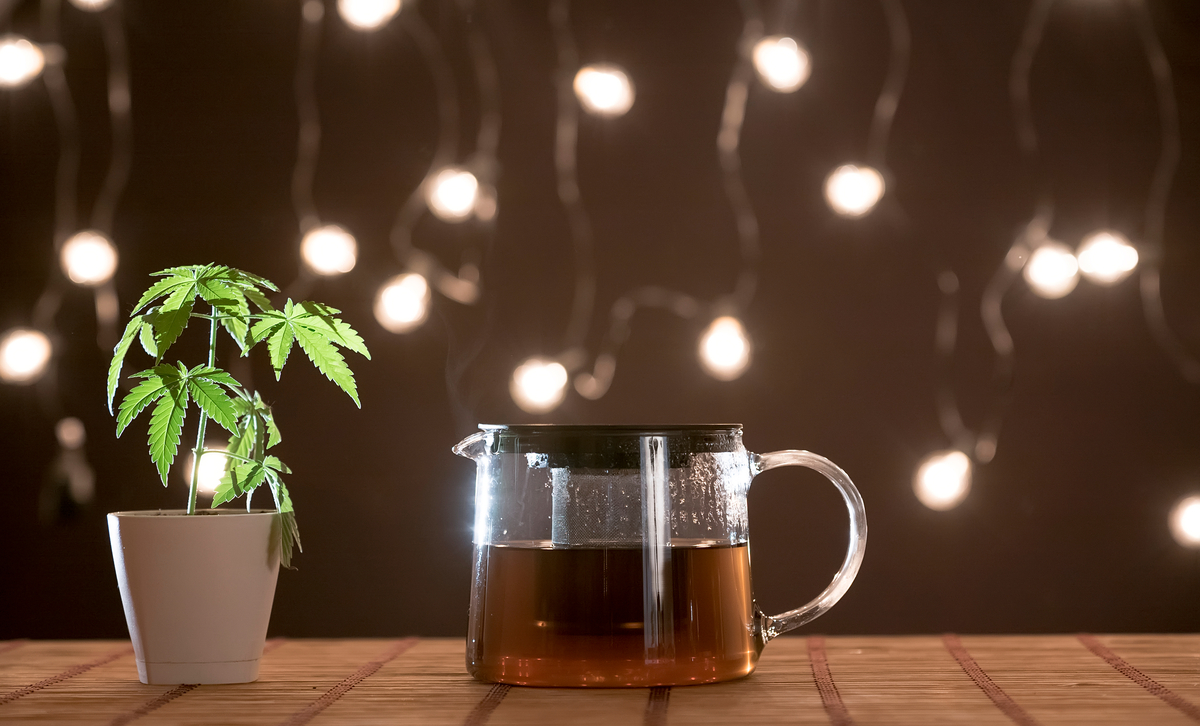 cannabis in a pot, next to a pot of coffee.