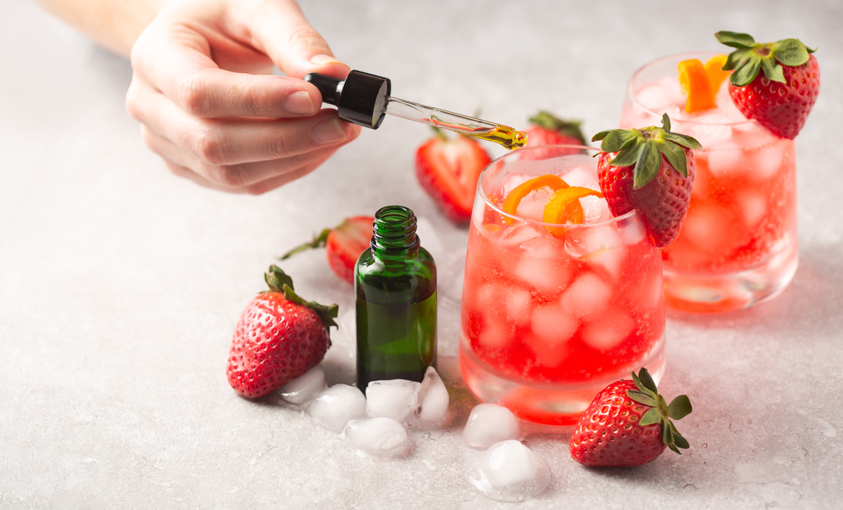 Strawberry cocktails with CBD being added.